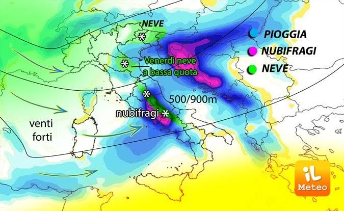 grafico meteo venerdi