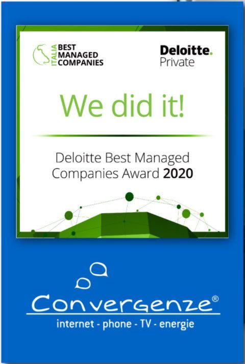 "15092020 Convergenze BMC 2020 - CONVERGENZE PREMIATA AI ""DELOITTE BEST MANAGED COMPANIES AWARDS"""